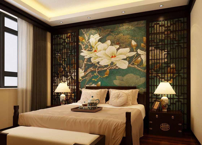 Симметричный интерьер в спальне